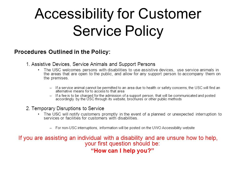 Accessibility for Customer Service Policy