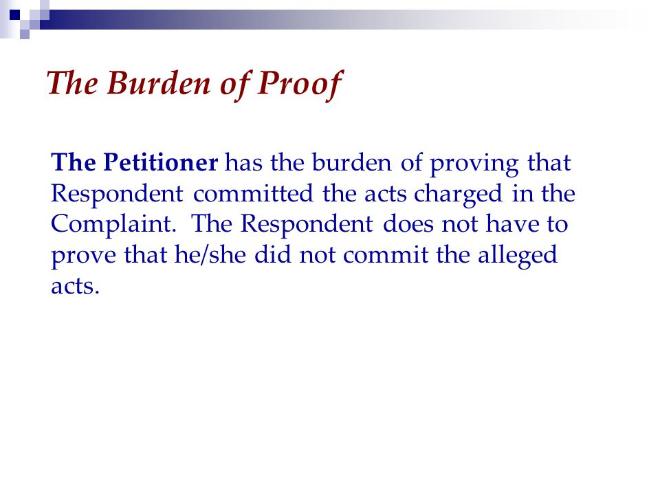 The Burden of Proof The Petitioner has the burden of proving that Respondent committed the acts charged in the Complaint.