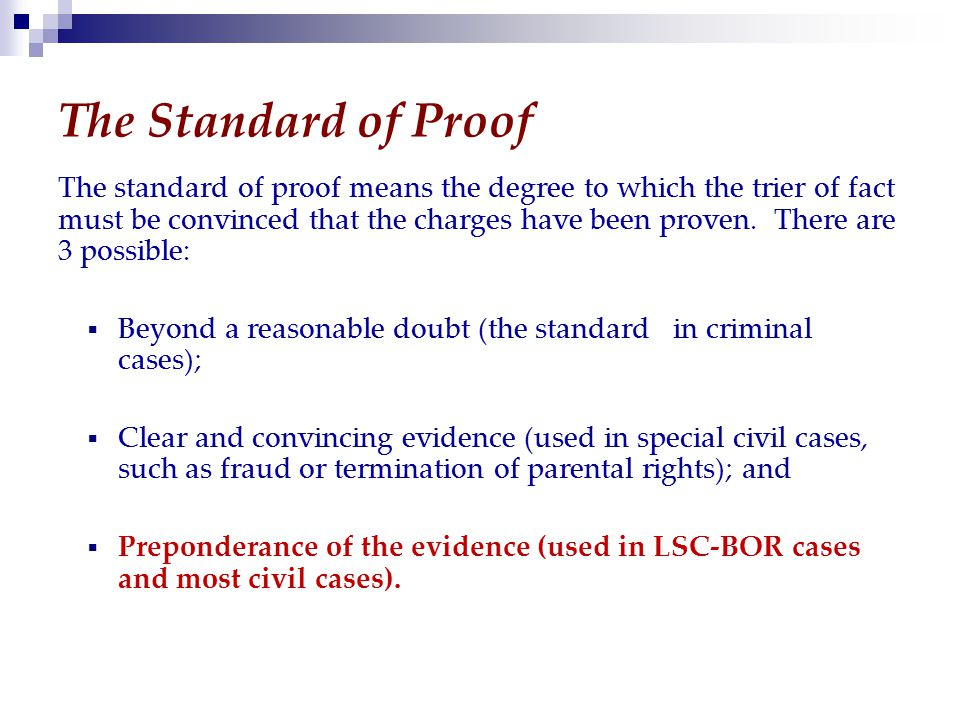 The Standard of Proof The standard of proof means the degree to which the trier of fact must be convinced that the charges have been proven.