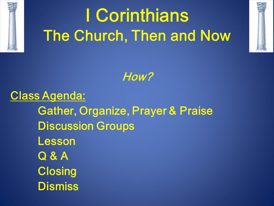 I Corinthians The Church, Then and Now How.