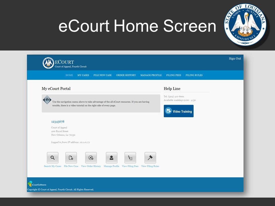 eCourt Home Screen