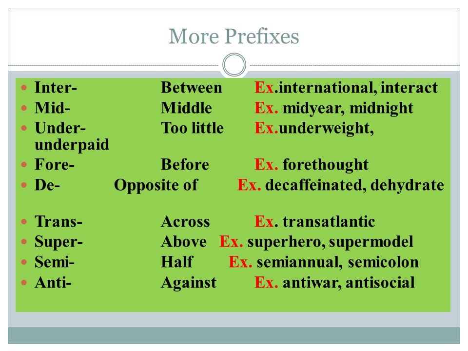 Common Prefixes Un-Not, opposite ofEx. unaware, unbelievable, Re-Again Ex.