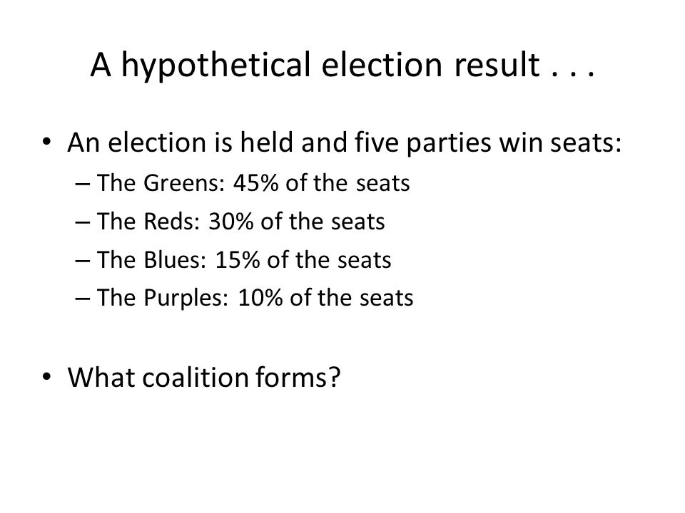 A hypothetical election result...