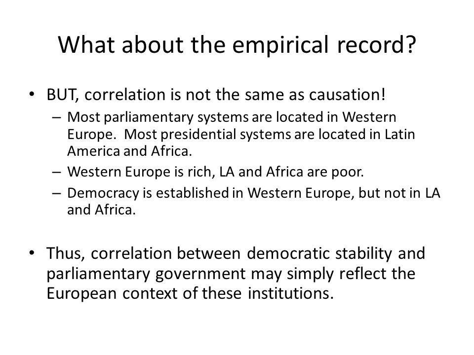 What about the empirical record.BUT, correlation is not the same as causation.