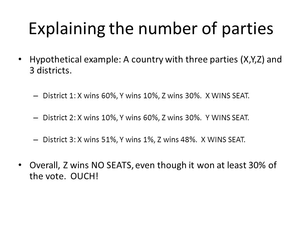 Explaining the number of parties Hypothetical example: A country with three parties (X,Y,Z) and 3 districts.