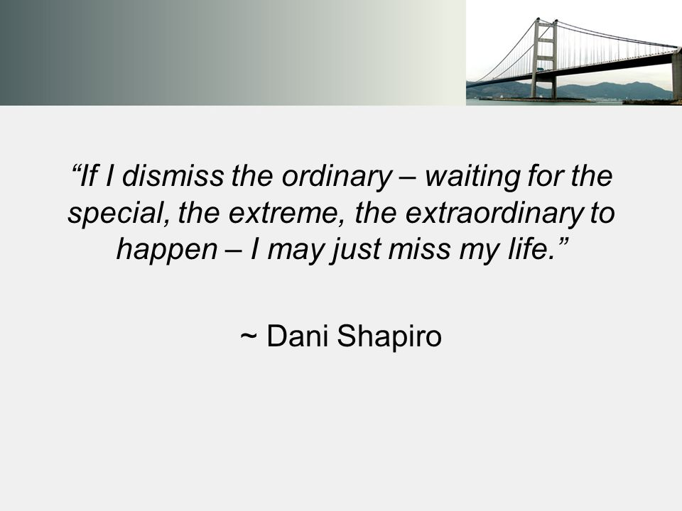If I dismiss the ordinary – waiting for the special, the extreme, the extraordinary to happen – I may just miss my life. ~ Dani Shapiro