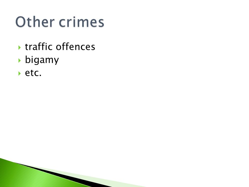  traffic offences  bigamy  etc.