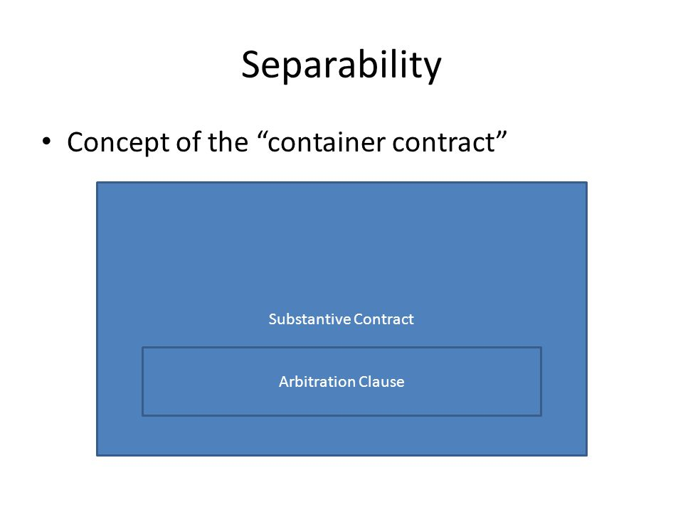 Separability Concept of the container contract Substantive Contract Arbitration Clause