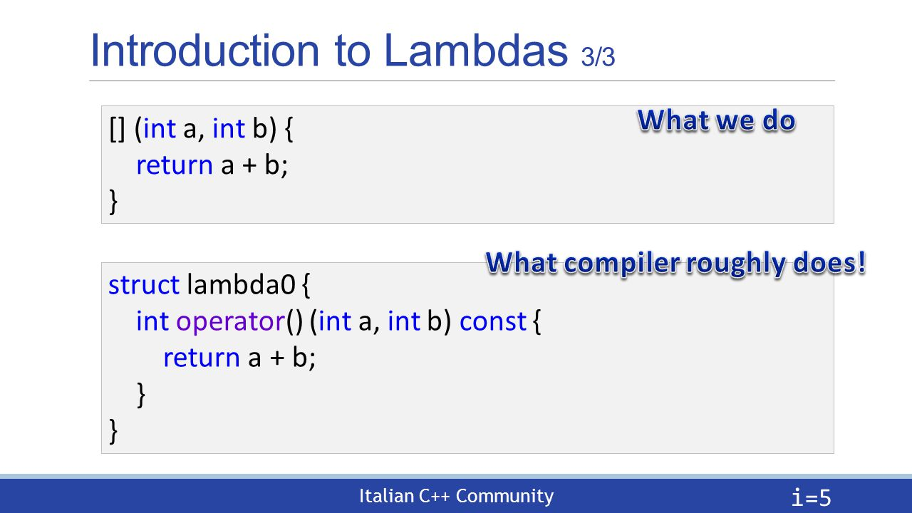 Italian C++ Community Introduction to Lambdas 3/3 i= 5 [] (int a, int b) { return a + b; } struct lambda0 { int operator() (int a, int b) const { return a + b; }