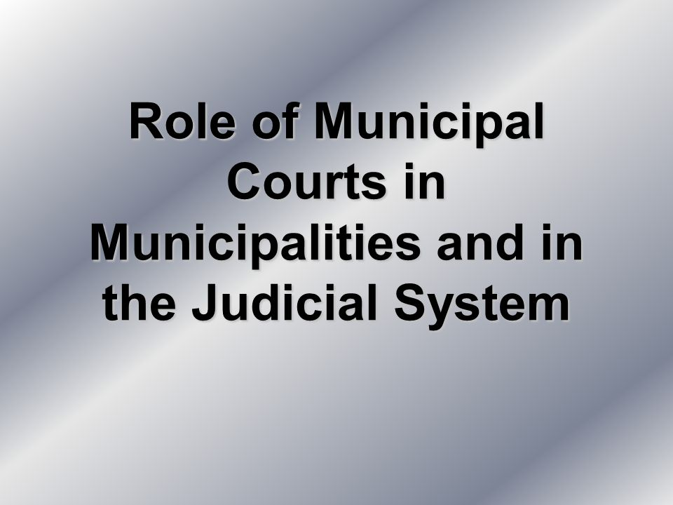Role of Municipal Courts in Municipalities and in the Judicial System