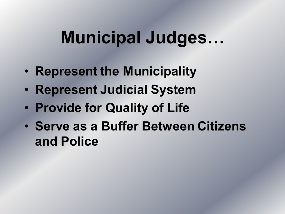 Municipal Judges… Represent the Municipality Represent Judicial System Provide for Quality of Life Serve as a Buffer Between Citizens and Police