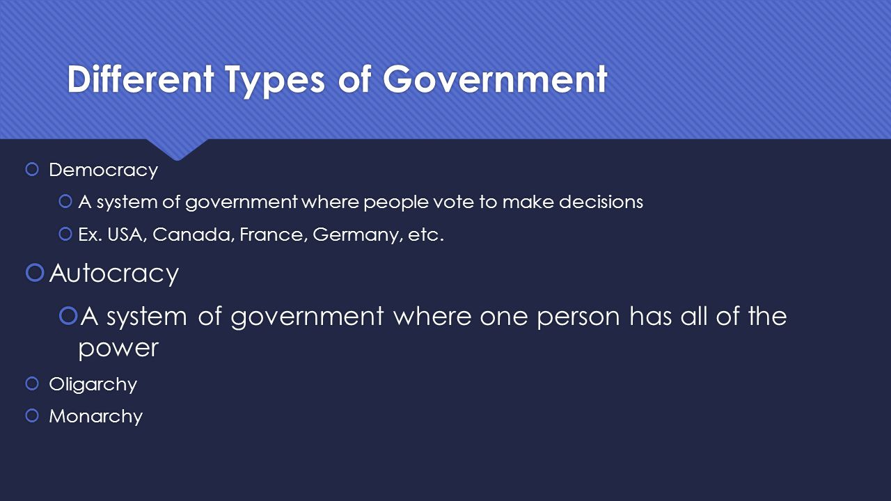 Different Types of Government  Democracy  A system of government where people vote to make decisions  Ex. USA, Canada, France, Germany, etc.  Auto