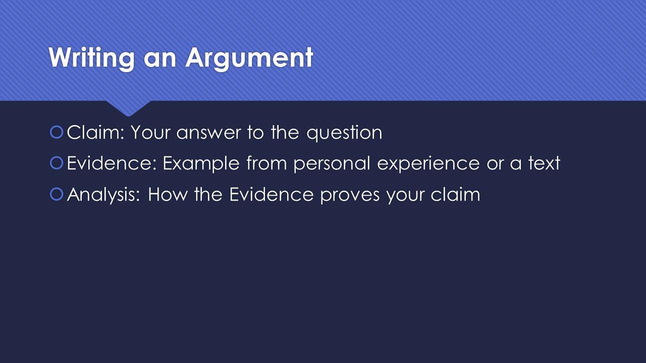 Writing an Argument  Claim  Evidence  Analysis  Claim  Evidence  Analysis