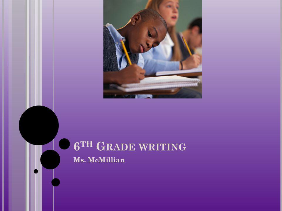 6 TH G RADE WRITING Ms. McMillian