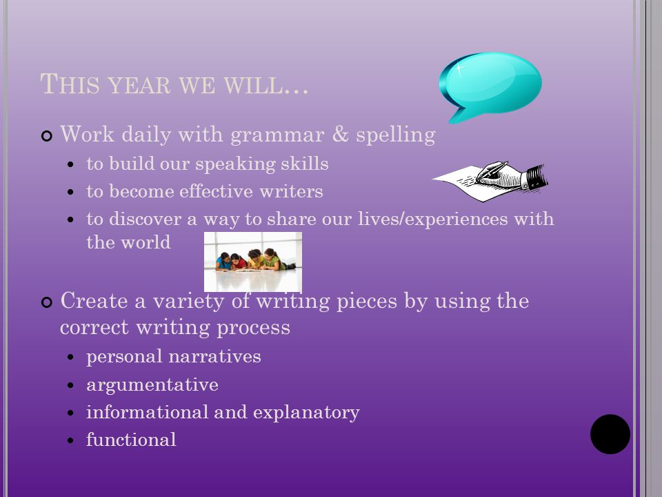 T HIS YEAR WE WILL … Work daily with grammar & spelling to build our speaking skills to become effective writers to discover a way to share our lives/experiences with the world Create a variety of writing pieces by using the correct writing process personal narratives argumentative informational and explanatory functional