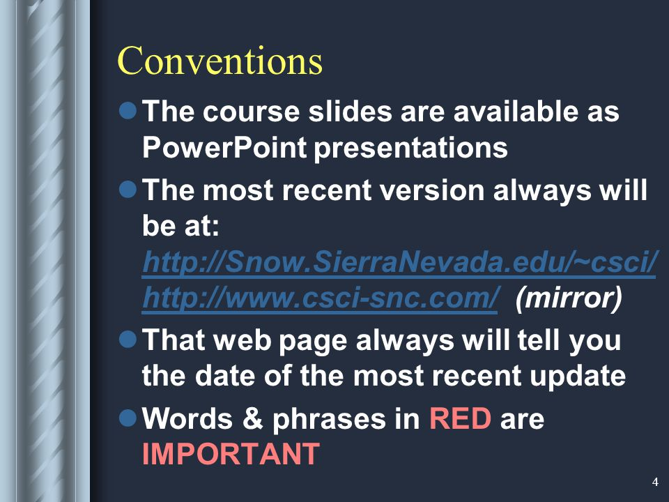 5 Conventions...
