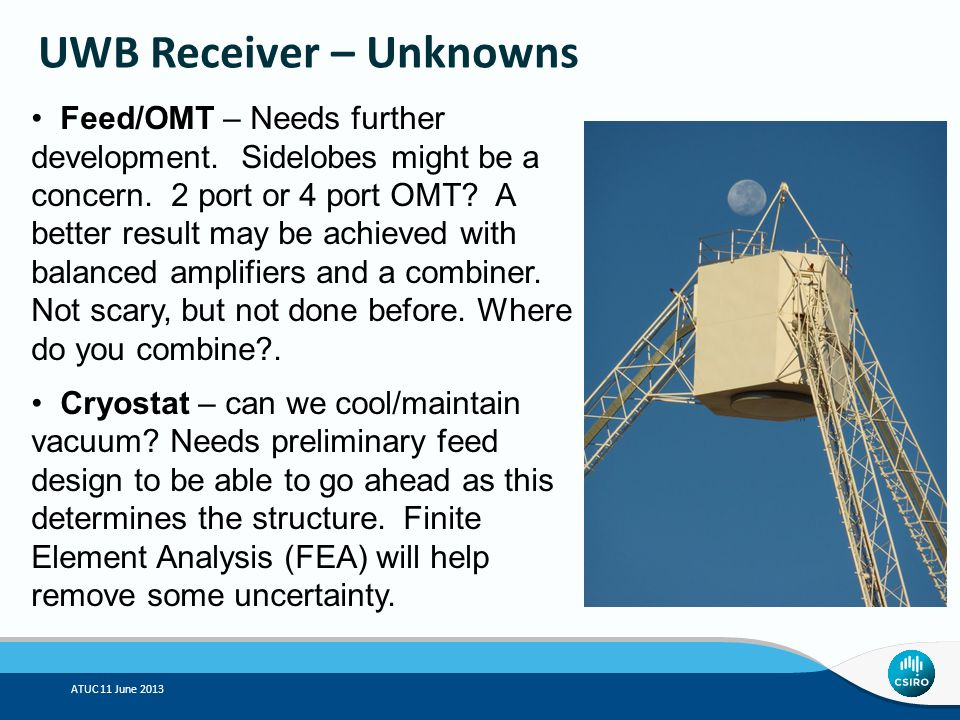 ATUC 11 June 2013 UWB Receiver – Unknowns Feed/OMT – Needs further development.