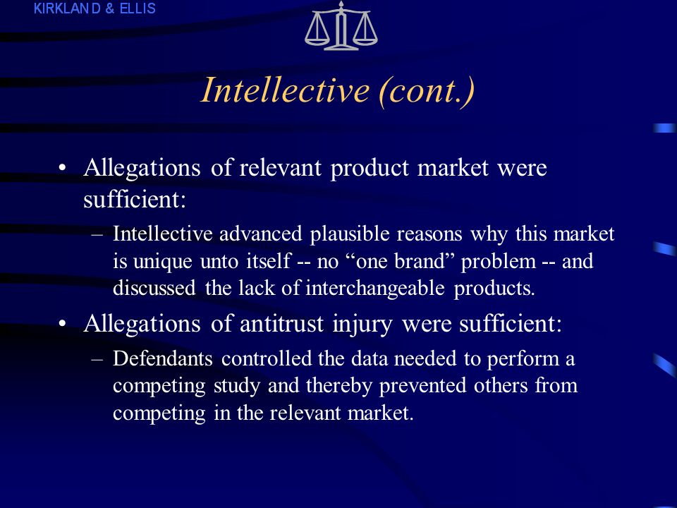 Intellective (S.D.N.Y.) Alleged that 5 insurance companies and their vendors attempted and conspired to monopolize the market for studies of investment performance by life insurance companies in the U.S.