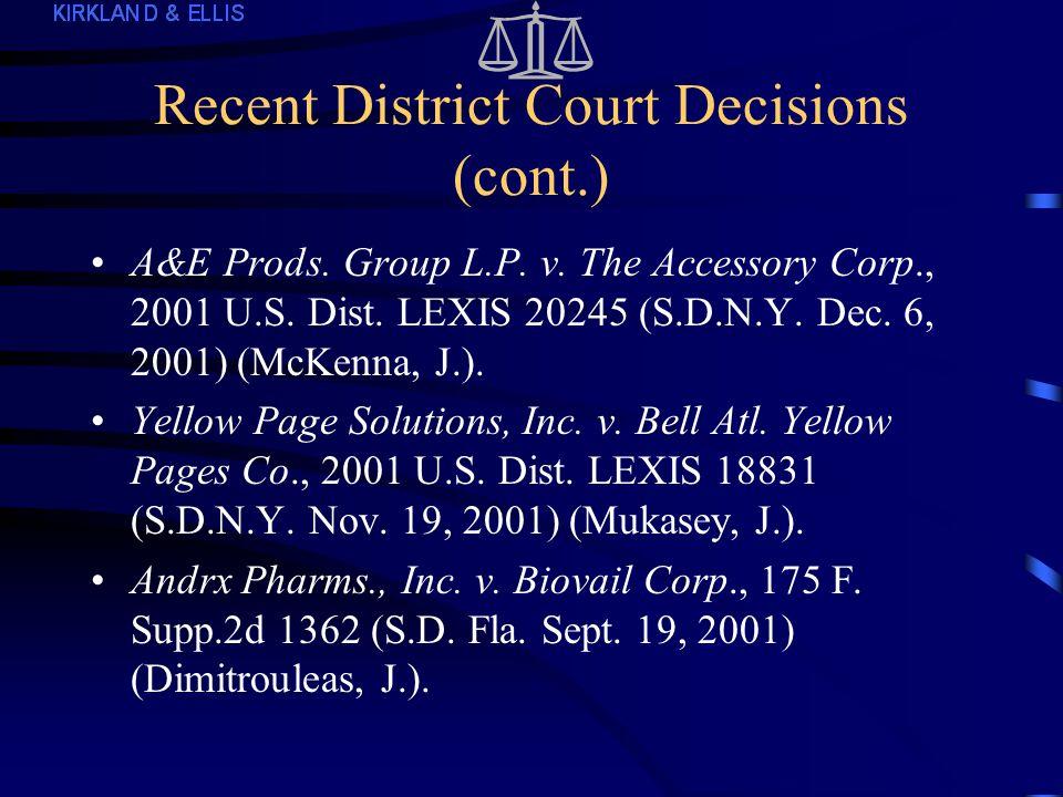 Recent District Court Decisions Intellective, Inc.