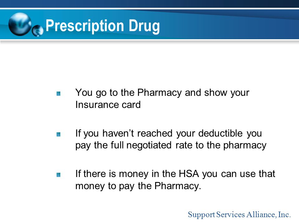 Prescription Drug You go to the Pharmacy and show your Insurance card If you haven't reached your deductible you pay the full negotiated rate to the p
