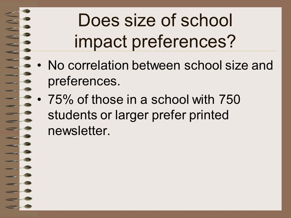 Does size of school impact preferences? No correlation between school size and preferences. 75% of those in a school with 750 students or larger prefe