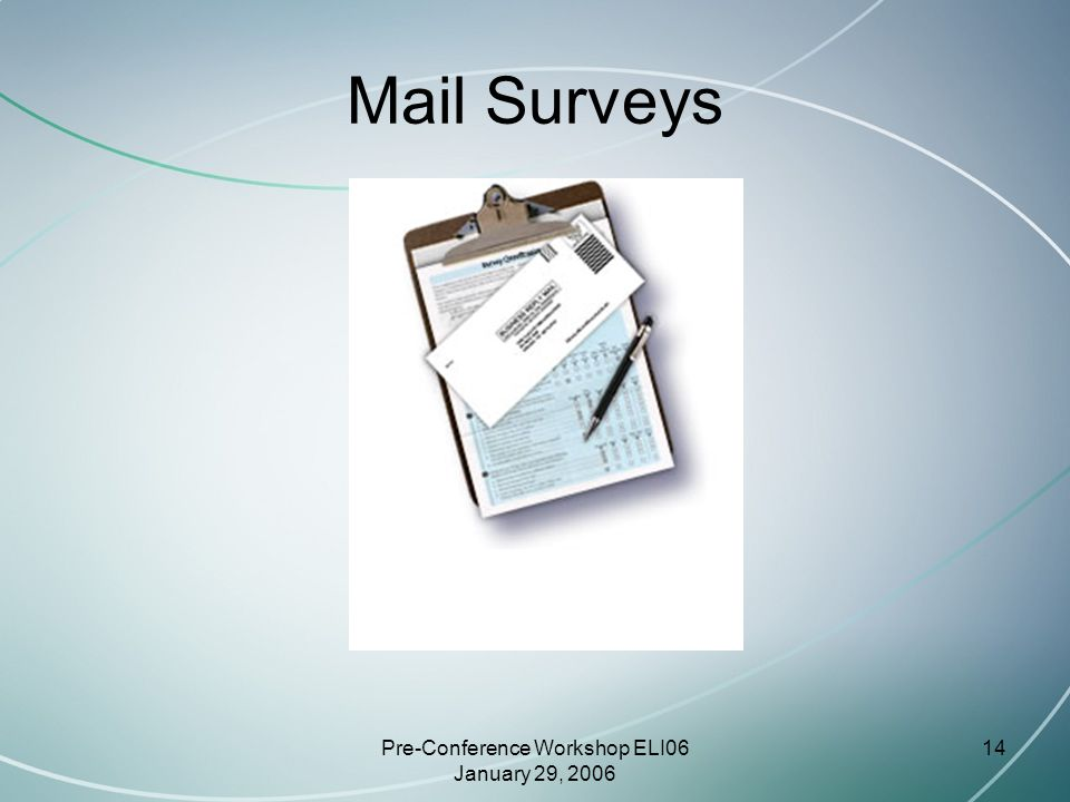 Pre-Conference Workshop ELI06 January 29, 2006 14 Mail Surveys