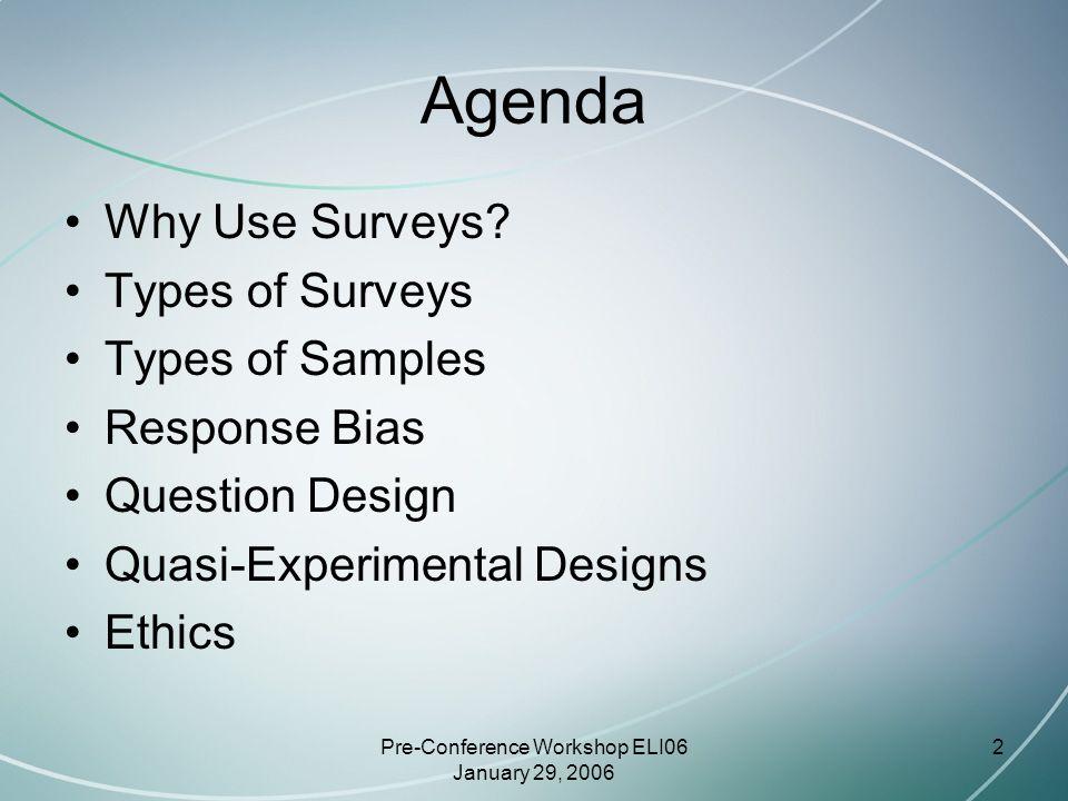 Pre-Conference Workshop ELI06 January 29, 2006 13 In-Person Surveys