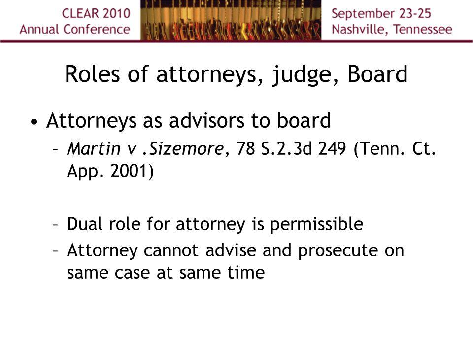 Roles of attorneys, judge, Board Attorneys as advisors to board –Martin v.Sizemore, 78 S.2.3d 249 (Tenn.