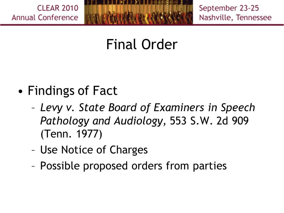 Final Order Findings of Fact –Levy v.
