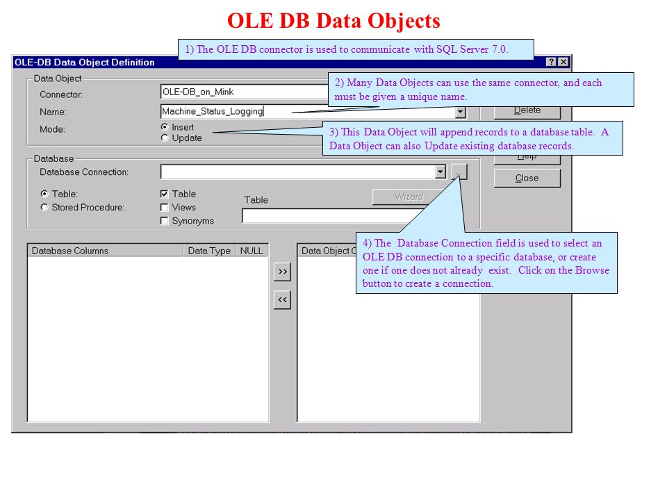 OLE DB Data Objects 1) The OLE DB connector is used to communicate with SQL Server 7.0. 3) This Data Object will append records to a database table. A