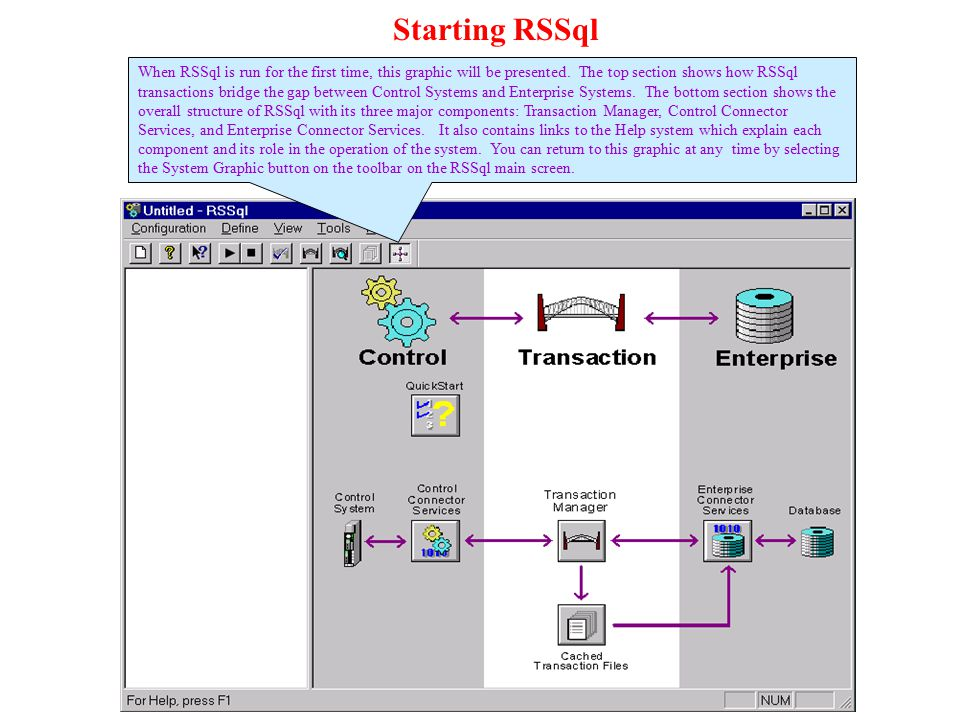 RSLinx Data Points This is the screen where we identify data points in the control system serviced by RSLinx that are to be used in RSSql transactions.