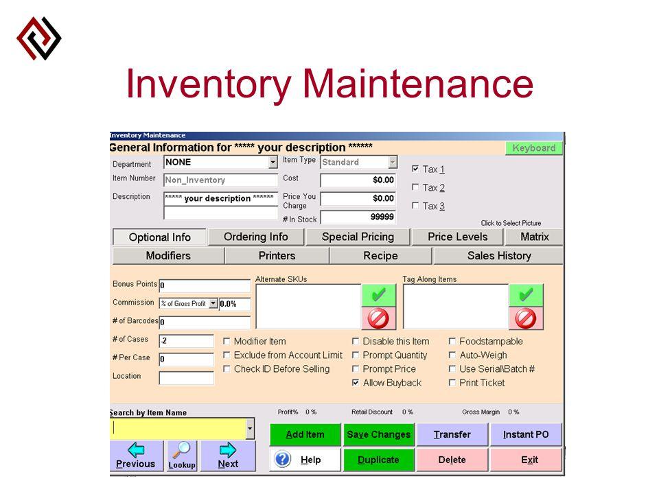 Inventory Maintenance