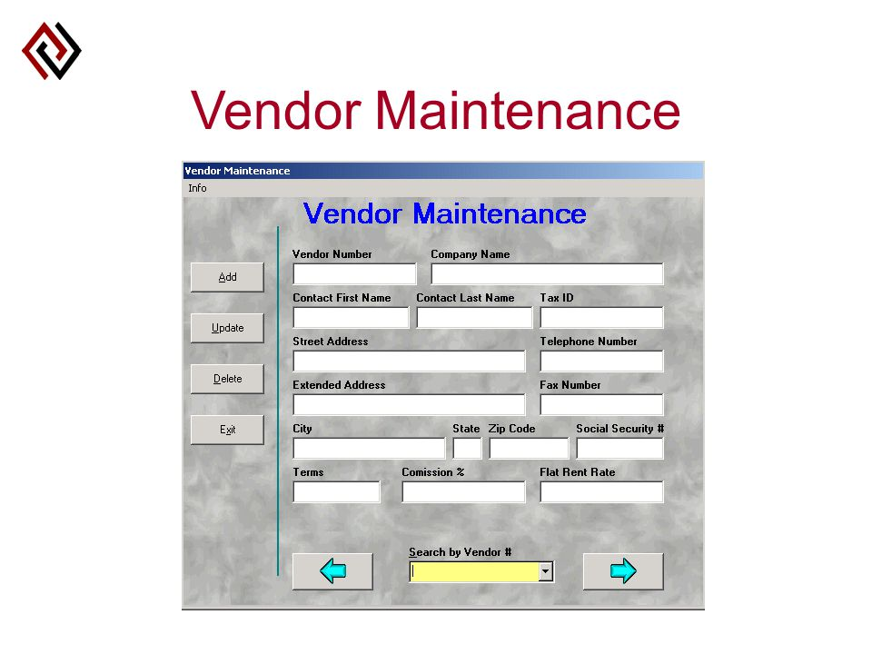 Vendor Maintenance