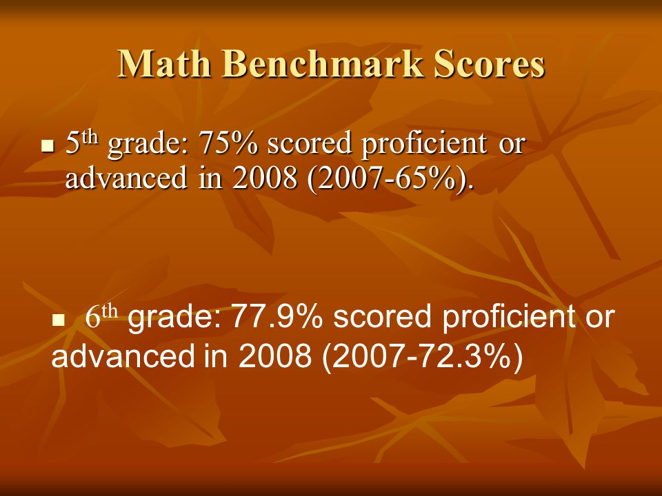 Math Benchmark Scores 5th grade: 75% scored proficient or advanced in 2008 (2007-65%).