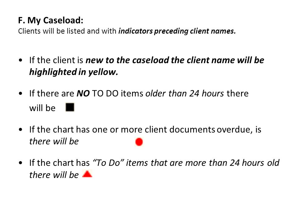 F. My Caseload: Clients will be listed and with indicators preceding client names.