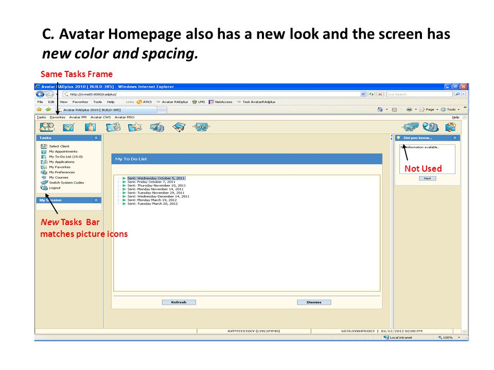 C. Avatar Homepage also has a new look and the screen has new color and spacing.