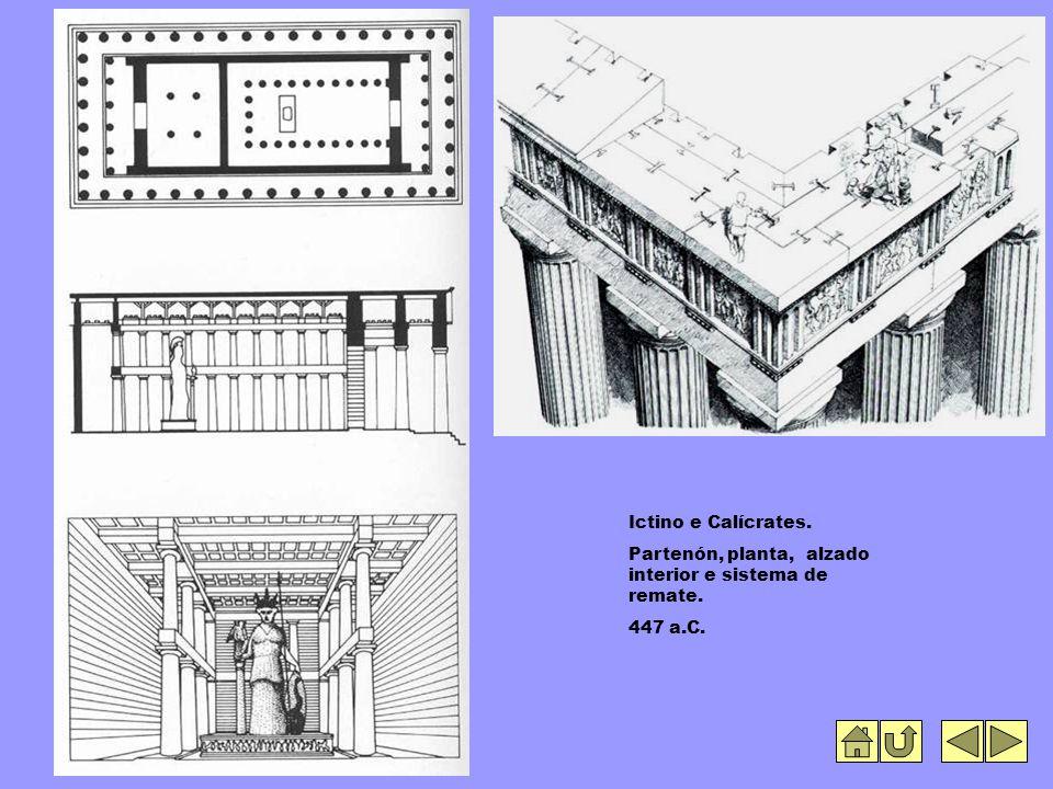 Ictino e Calícrates. Partenón, planta, alzado interior e sistema de remate. 447 a.C.