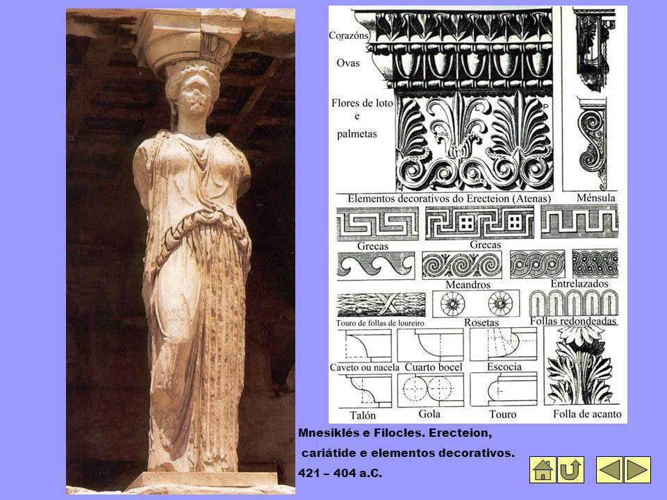 Mnesiklés e Filocles. Erecteion, cariátide e elementos decorativos. 421 – 404 a.C.