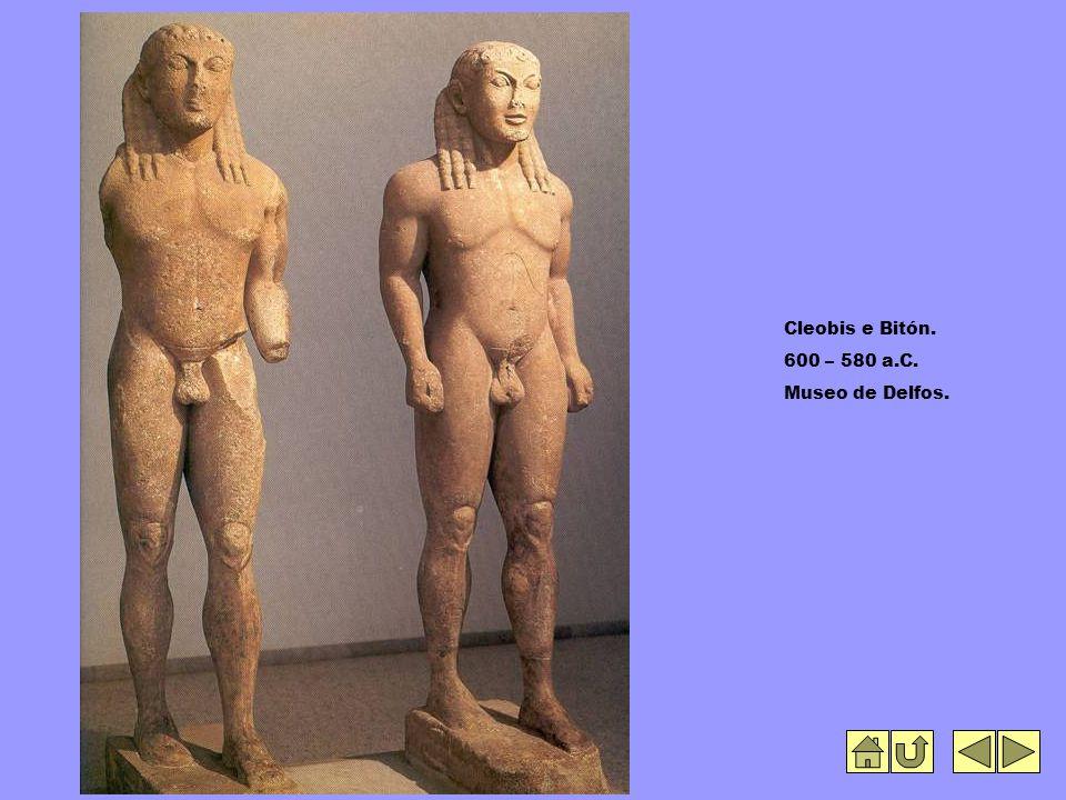 Cleobis e Bitón. 600 – 580 a.C. Museo de Delfos.