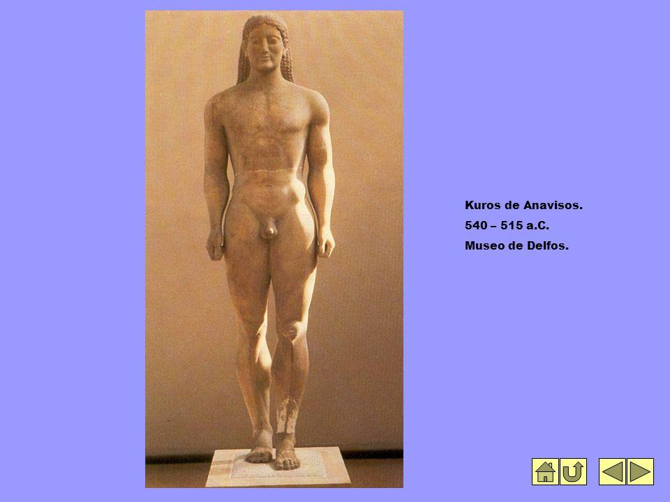 Kuros de Anavisos. 540 – 515 a.C. Museo de Delfos.