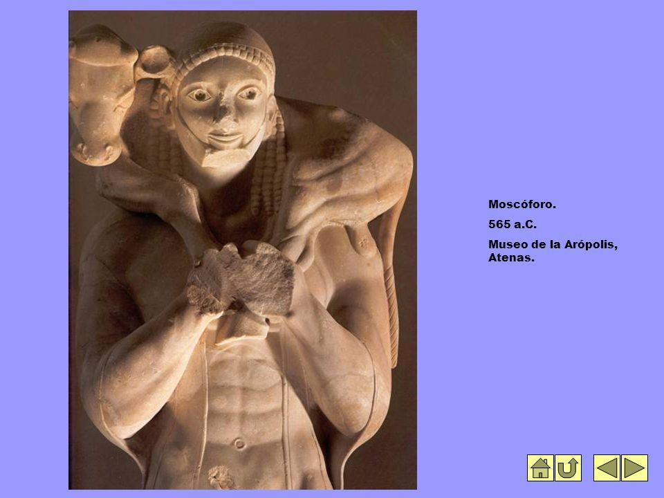 Moscóforo. 565 a.C. Museo de la Arópolis, Atenas.