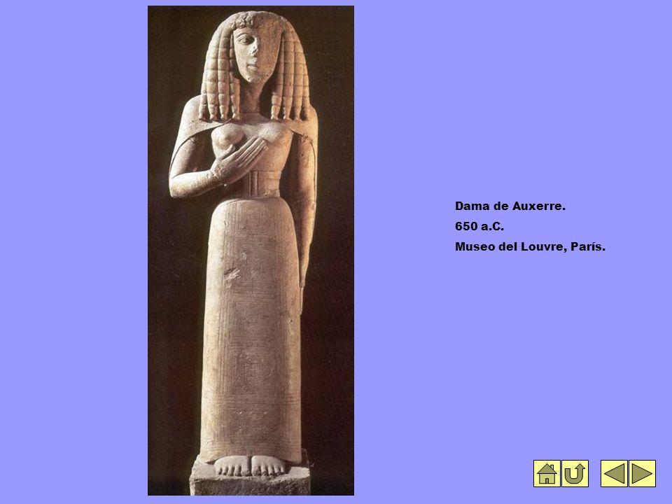 Dama de Auxerre. 650 a.C. Museo del Louvre, París.