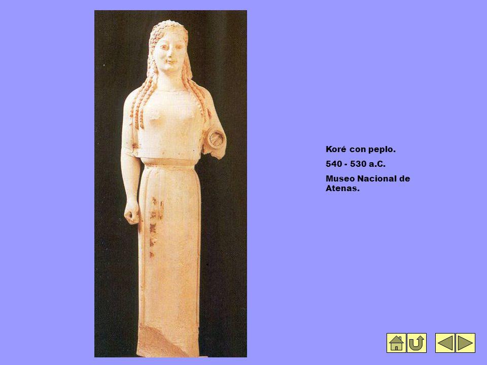 Koré con peplo. 540 - 530 a.C. Museo Nacional de Atenas.
