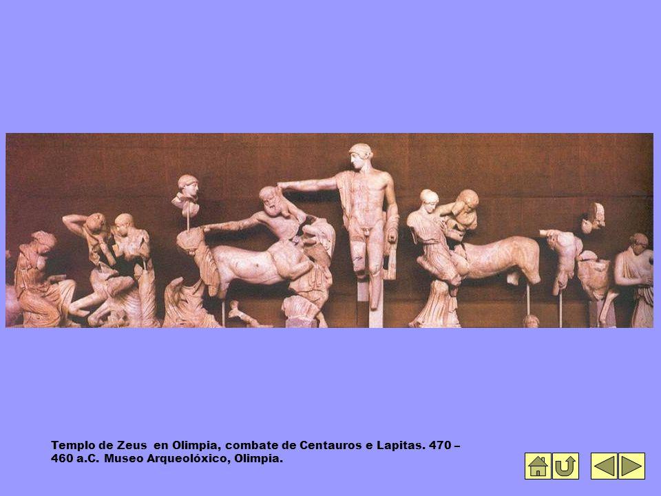 Templo de Zeus en Olimpia, combate de Centauros e Lapitas.