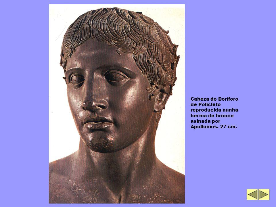 Cabeza do Doríforo de Policleto reproducida nunha herma de bronce asinada por Apollonios. 27 cm.