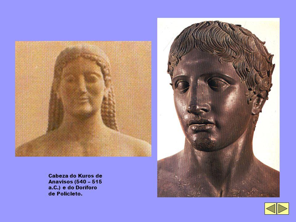Cabeza do Kuros de Anavisos (540 – 515 a.C.) e do Doríforo de Policleto.