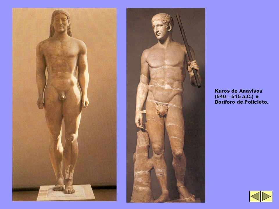Kuros de Anavisos (540 – 515 a.C.) e Doríforo de Policleto.