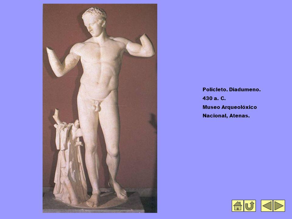Policleto. Diadumeno. 430 a. C. Museo Arqueolóxico Nacional, Atenas.