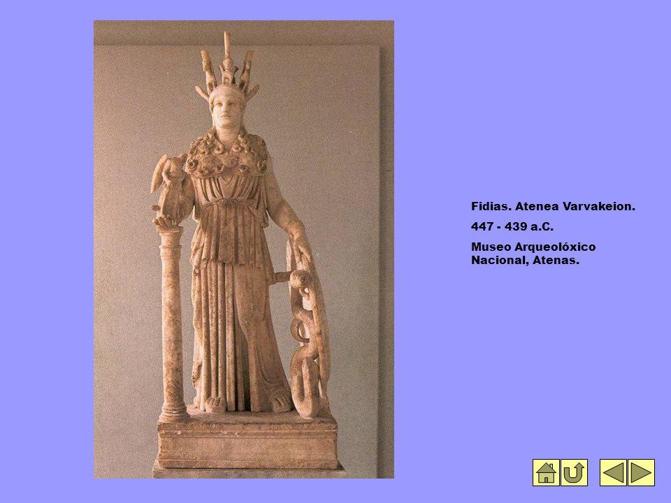 Fidias. Atenea Varvakeion. 447 - 439 a.C. Museo Arqueolóxico Nacional, Atenas.