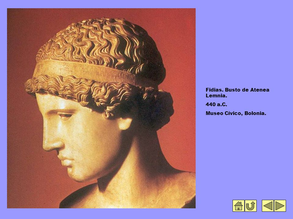 Fidias. Busto de Atenea Lemnia. 440 a.C. Museo Cívico, Bolonia.